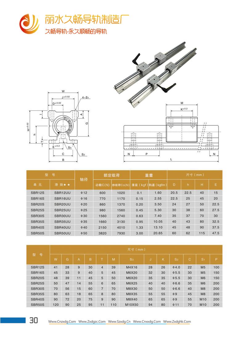 圆柱光轴导轨直线轴承固定座选型图规格型号尺寸表画册